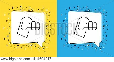 Set Line Dog In Muzzle Icon Isolated On Yellow And Blue Background. Accessory For Dog. Vector