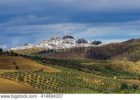 View Of Olvera Village, One Of The Beautiful White Villages, Pueblos Blancos Of Andalucia, Spain. It