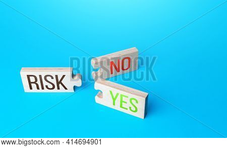 Risk Puzzles With Two Yes And No Combinations Connections. Business Risk Management Concept. Forecas