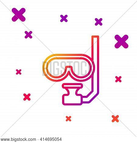 Color Line Diving Mask And Snorkel Icon Isolated On White Background. Extreme Sport. Diving Underwat