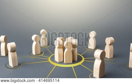 People Form A Group. Combining Into A Cooperative Form To Achieve A Common Goal And Solve A Problem.