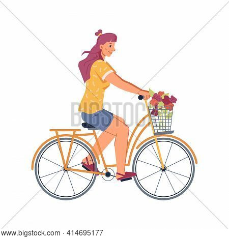Woman Riding On Bicycle Isolated Flat Cartoon Person. Vector Young Adult Cyclist On Bike Decorated B