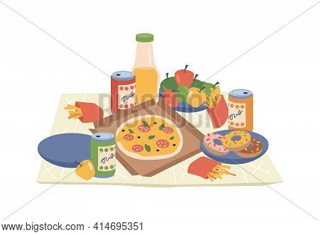 Fastfood And Drinks On Picnic Napkin Or Blanket Isolated Flat Cartoon Design. Vector Pizza, French F