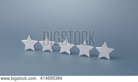 Five Gray Stars. Rating Evaluation Concept. Service Quality. Buyer Feedback. Popularity Rating Of A