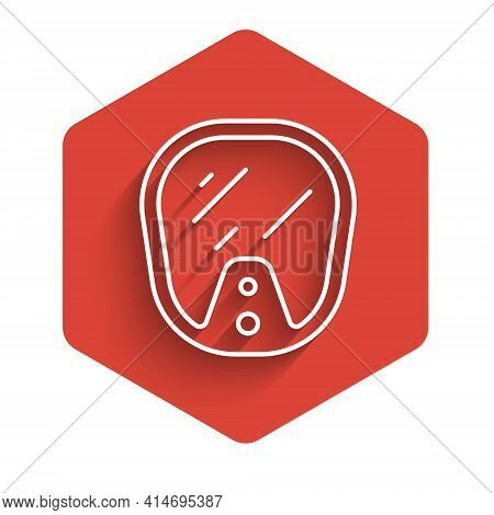 White Line Diving Mask Icon Isolated With Long Shadow. Extreme Sport. Diving Underwater Equipment. R