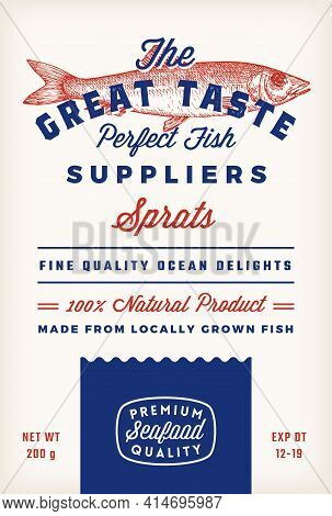 Great Taste Fish Suppliers Abstract Vector Rustic Packaging Label Design. Retro Typography And Hand