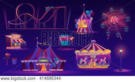 Amusement Park Night Set. Vector Ferris Wheel, Big Top Circus Tent, Roller Coaster Racing , Carousel