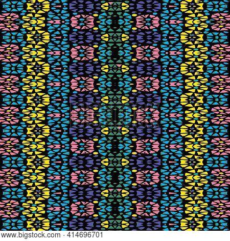 Vibrant Multicolored Geometric Mosaic Seamless Pattern Design