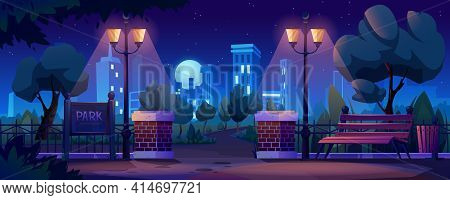 City Park At Night, Cityscape Panorama On Background. Vector Parkland Outdoors Elements At Night-tim