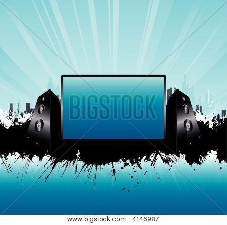 Blue Urban Skyline Music Speakers Board