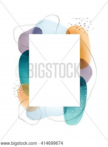 Frame Design With Abstract Watercolor Blobs And Blotches, Painted Geometric Shapes, Pastel Spots And