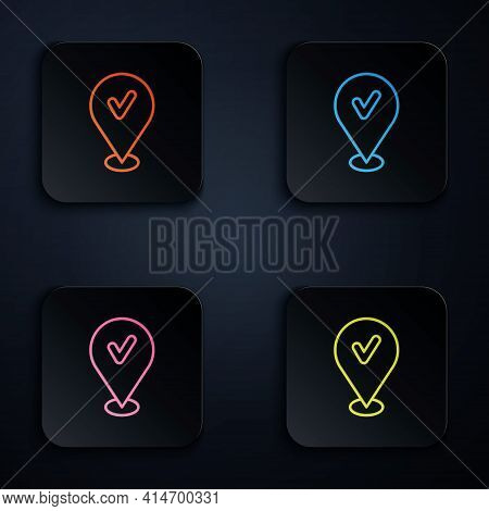 Color Neon Line Map Pin With Check Mark Icon Isolated On Black Background. Navigation, Pointer, Loca