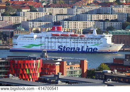 Gothenburg, Sweden - August 26, 2018: Stena Line Ferry Ship Stena Danica In Gothenburg, Sweden. The