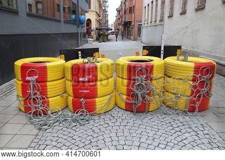 Gothenburg, Sweden - August 27, 2018: Special Pedestrian Safety Barrier In Gothenburg City, Sweden.