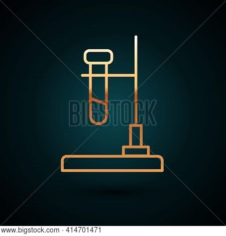 Gold Line Glass Test Tube Flask On Fire Heater Experiment Icon Isolated On Dark Blue Background. Lab