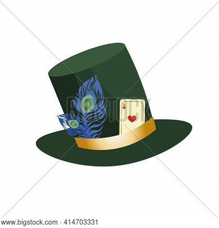 Stovepipe Green Hat Of The Mad Hatter From Alice In Wonderland. Decorated With Feather And Playing C