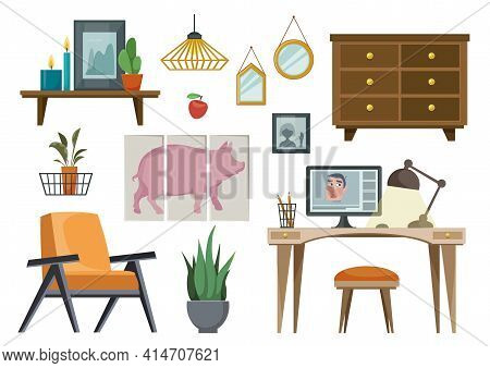 Set Of Furniture In The Scandinavian Fashion. Items For The Blogger S Office. Vector Illustration In