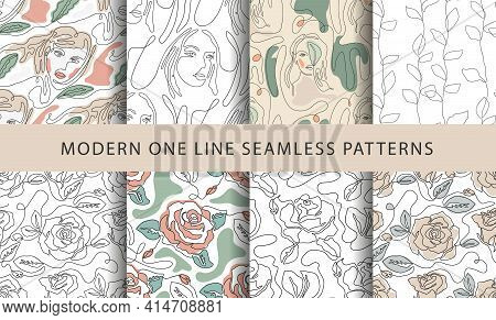 One Line Seamless Modern Pattern. Vector Illustration. Minimalist Minimal Young Woman Simplicity Art
