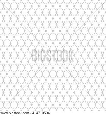Abstract Seamless Geometric Diamonds Dotted Pattern. White Textured Background. Vector Art.