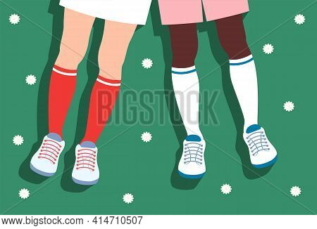 Springtime Vector illustration in top view Flat design Female and man legs in cool high socks and sneakers on blooming field with daisy flowers