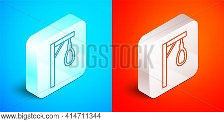 Isometric Line Gallows Rope Loop Hanging Icon Isolated On Blue And Red Background. Rope Tied Into No