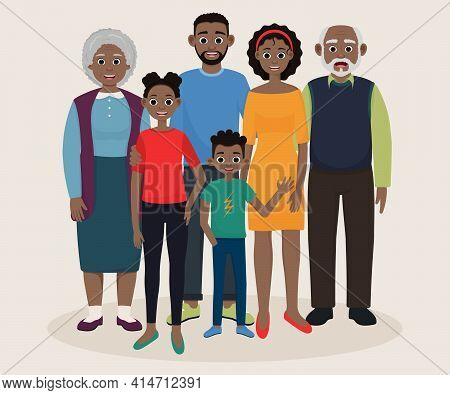 African American Family. Mom Dad Daughter Son Grandmother Grandfather.