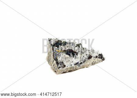 Macro Stone Mineral Pyrrhotite, Quartz, Sphalerite, Calcite, Galena On White Background