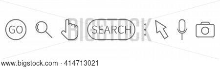Search Symbol Set On Long Banner. Magnifying Glass, Search, Cursor Pointer, Go, Microphone, Camera L