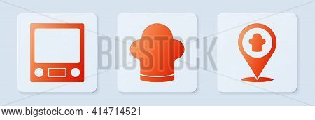 Set Chef Hat, Electronic Scales And Chef Hat With Location. White Square Button. Vector