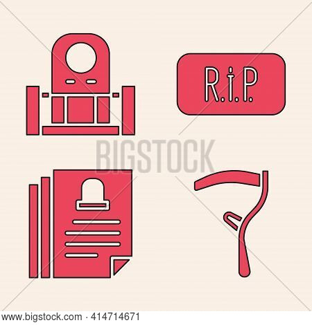 Set Scythe, Grave With Tombstone, Speech Bubble Rip Death And Death Certificate Icon. Vector