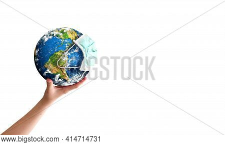 Earth Day Concept: Hand Holding Earth Globe With A Face Mask  Isolated On A White Background.  Eleme
