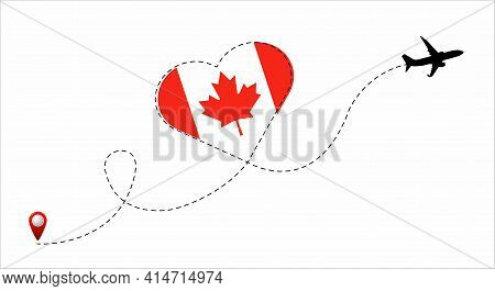 Airplane Flight Route With The Canada Flag Inside The Heart. Travel To Your Beloved Country. Vector