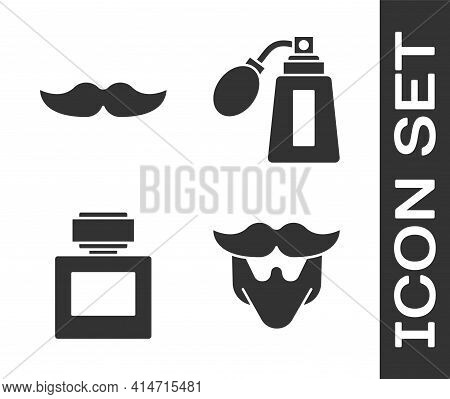 Set Mustache And Beard, Mustache, Aftershave And Aftershave Bottle With Atomizer Icon. Vector