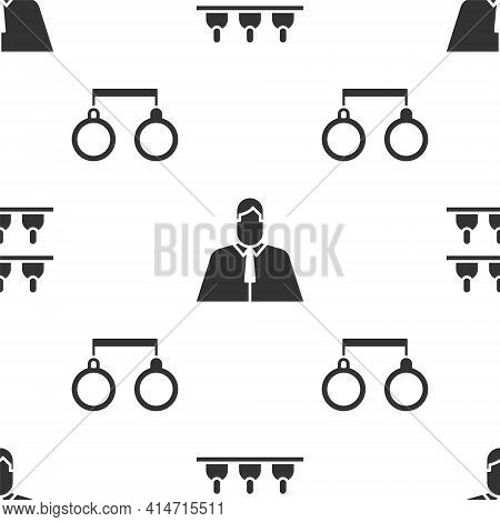 Set Jurors, Lawyer, Attorney, Jurist And Handcuffs On Seamless Pattern. Vector