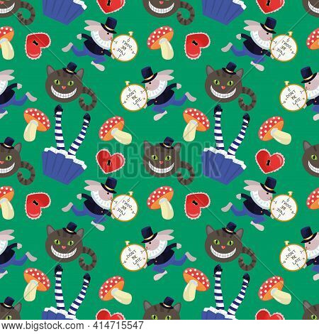 Alice In Wonderland Seamless Pattern With Rabbit, Alice, Cheshire Cat, Hearts And Amanitas.