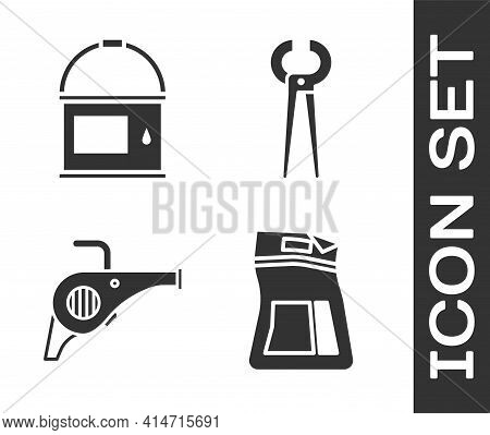 Set Cement Bag, Paint Bucket, Leaf Garden Blower And Pincers And Pliers Icon. Vector