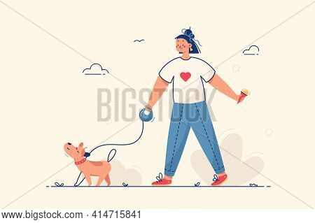 Girl Walking With Dog Vector Illustration. Young