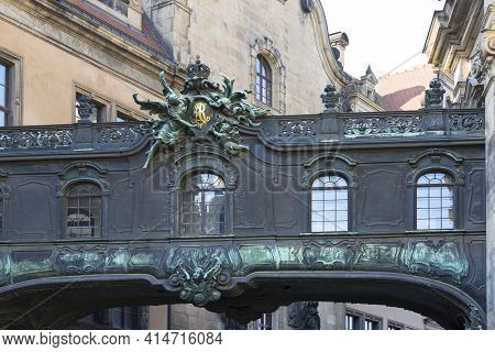 Dresden, Germany - September 23, 2020 : Decorative Connector, Passage Between The Dresden Castle And