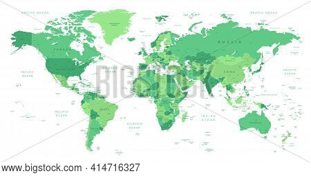 World Map. Highly Detailed Map Of The World With Detailed Borders Of All Countries With Cities, Capi