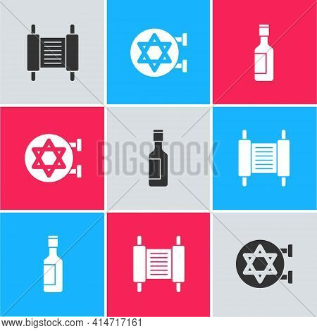 Set Torah Scroll, Jewish Synagogue And Wine Bottle Icon. Vector