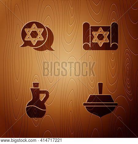 Set Hanukkah Dreidel, Star Of David, Bottle Olive Oil And Torah Scroll On Wooden Background. Vector