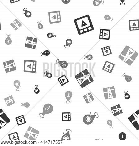Set Gps Device Error, Search Location, With Map And Location Anchor On Seamless Pattern. Vector