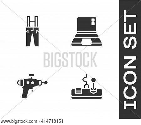 Set Gamepad, Pants With Suspenders, Ray Gun And Laptop Icon. Vector