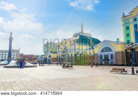 Krasnoyarsk, Russia - March 27, 2021: Krasnoyarsk-passazhirsky Is The Main Railway Station Of Krasno
