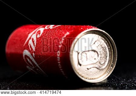 Water Droplets On Classic Coca-cola Can On Black Background. Studio Shot In Bucharest, Romania, 2021