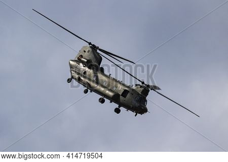 Fairford, United Kingdom - July 13, 2018: Royal Air Force Ch-47 Chinook Hc6 Zh891 Transport Helicopt