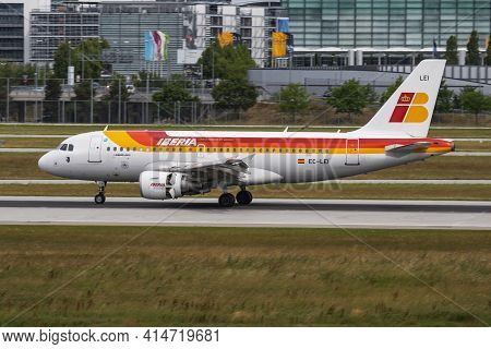 Munich, Germany - July 11, 2017: Iberia Airlines Airbus A319 Ec-lei Passenger Plane Arrival And Land