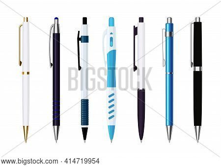 Collection Of Various Automatic Spring Ballpoint Pens. School Or Office Tools Collection. Flat Vecto