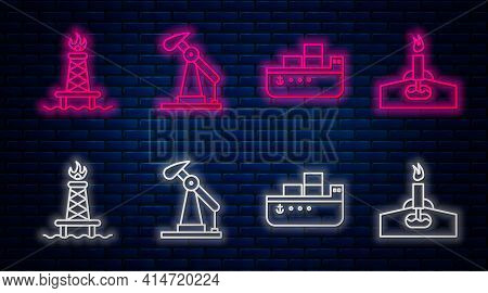 Set Line Oil Pump Or Pump Jack, Oil Tanker Ship, Oil Rig With Fire And Oil Rig With Fire. Glowing Ne