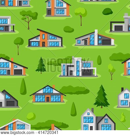 Seamless Pattern With Modern Luxury Houses. Real Estate Cottages.